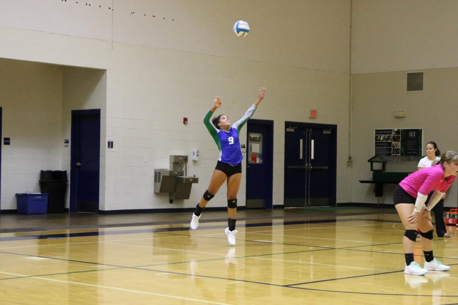 Gabriella Aubel serves at a varsity volleyball game.  This is Aubel's senior year of volleyball.