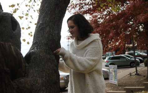 Seventh grader Amani Rojas-Bouhouch studies a tree. She has a dog named