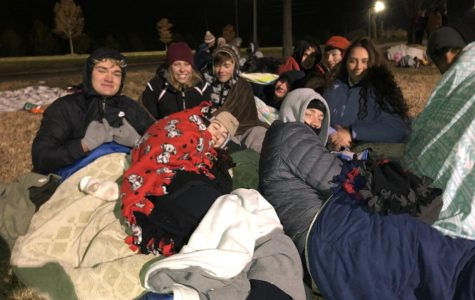 Students pose for a photo at Sleep Outside. Last year the temperature got below twenty degrees allowing students to go inside.