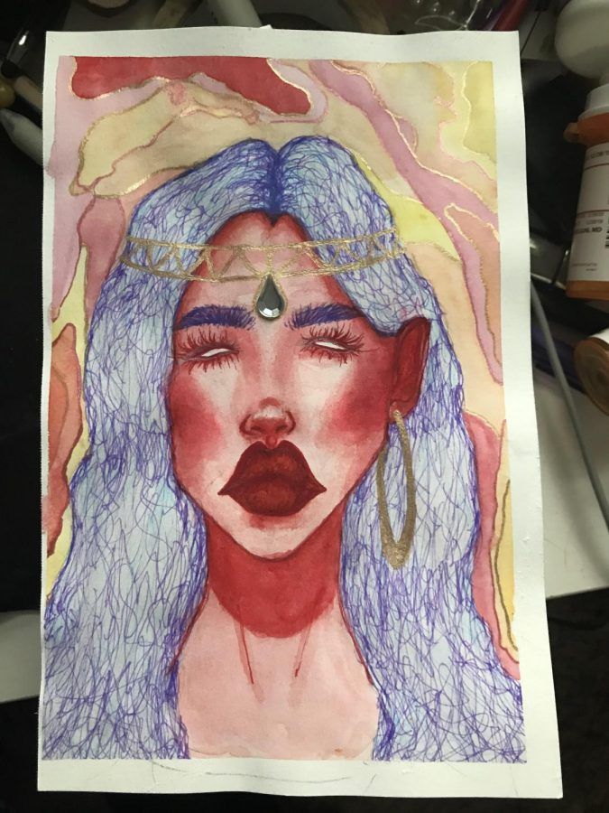 This+photo+depicts+Mina+Dailey%27s+recently+finished+artwork.+Dailey+used+watercolor+and+pencil+to+create+these+portraits